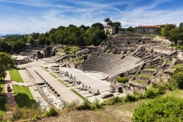 Ancient Roman era Theatre of Fourviere and Odeon on the Fourviere Hill in Lyon