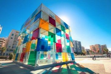 Multicolored cube of museum Pompidou centre in Malag